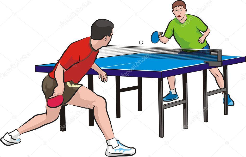 Dos jugadores jugar tenis de mesa vector de stock for Madison tenis de mesa