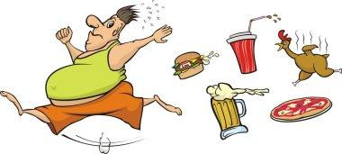 Fat man runs away from unhealthy food
