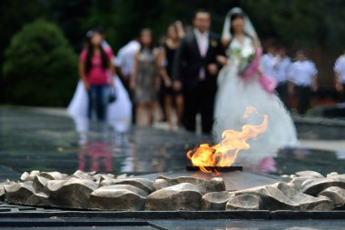 Eternal flame in memory of Panfilov Division