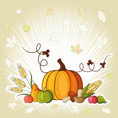 Autumn background illustration for happy thanksgiving day