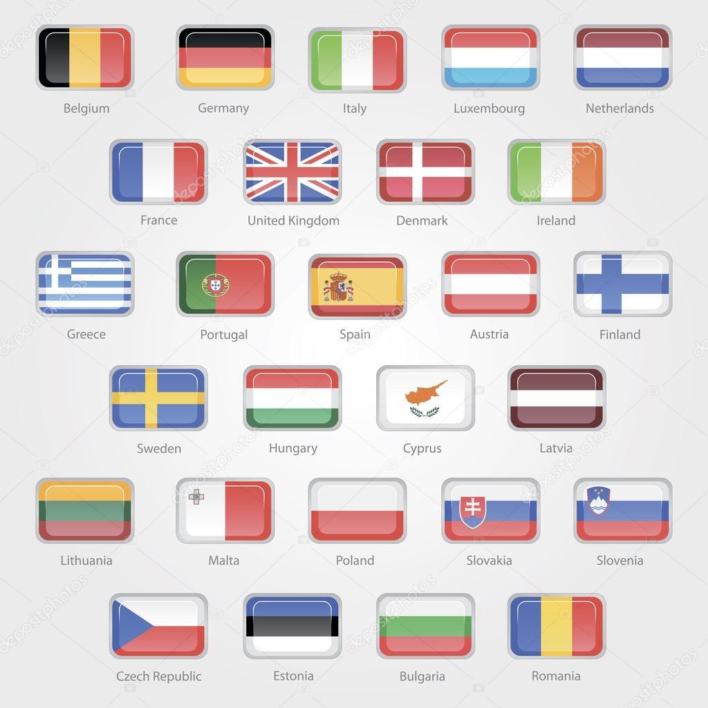 eu 諸国の国旗を描いたアイコン ...