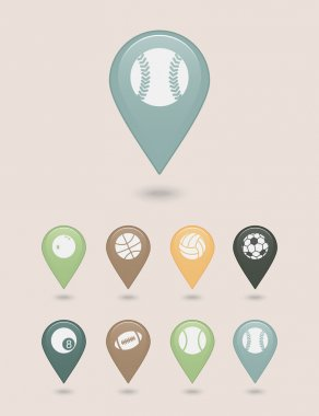 Sports balls mapping pins icons