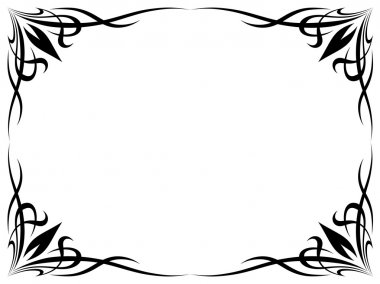 Simple black tattoo ornamental decorative frame