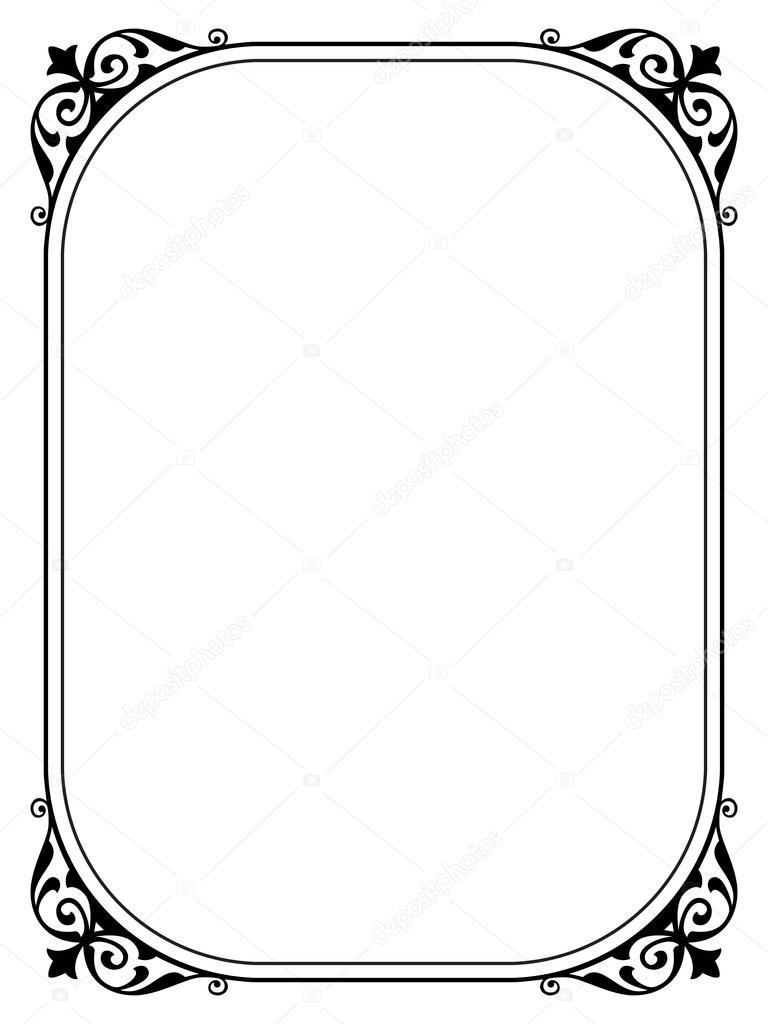 marco decorativo ornamental negro simple — Archivo Imágenes ...
