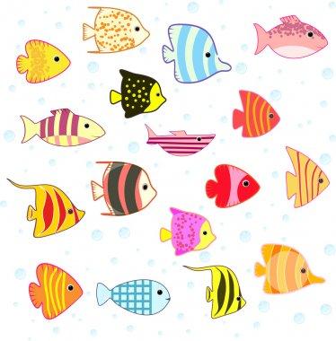 Cartoon tropical fish set