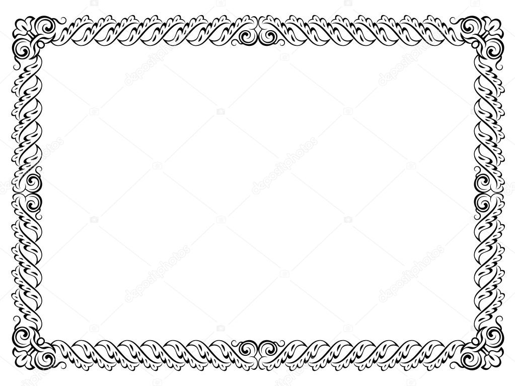 Calligraphy penmanship curly baroque frame black — Stock Vector ...