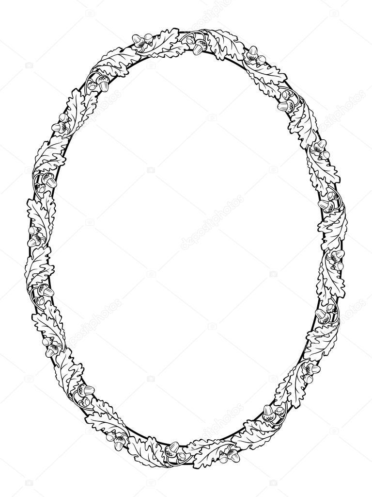 Oak leaf oval frame black silhouette