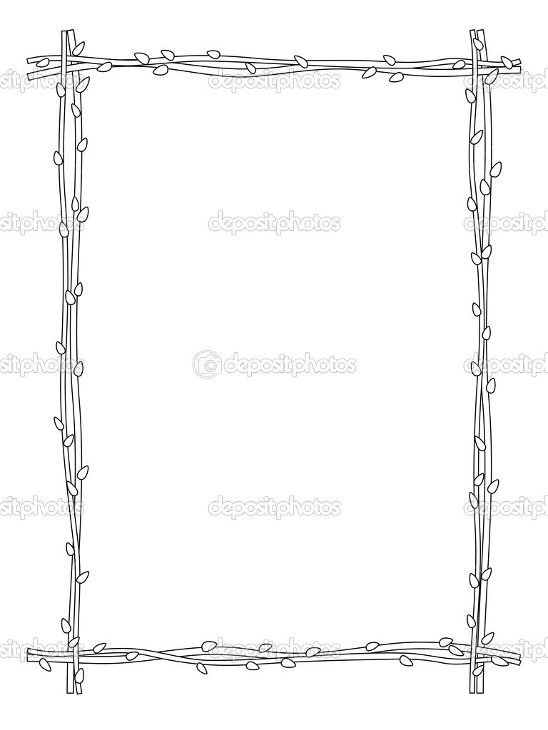 twig zweig rahmen schwarz wei isoliert stockvektor 38346531. Black Bedroom Furniture Sets. Home Design Ideas