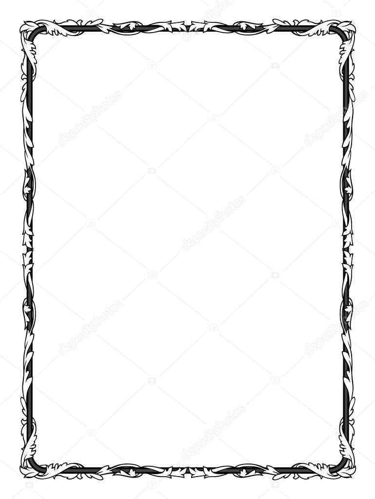 Calligraphie calligraphie boucl s cadre baroque noir - Cadre photo rectangulaire long ...
