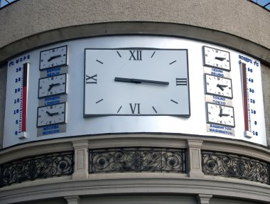The hours showing time in the different cities of the world