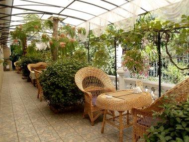 Crimea. Summer restaurant in Yalta
