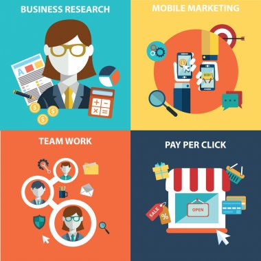 Vector collection of flat and colorful business, marketing and finance concepts. Design elements for web and mobile applications.