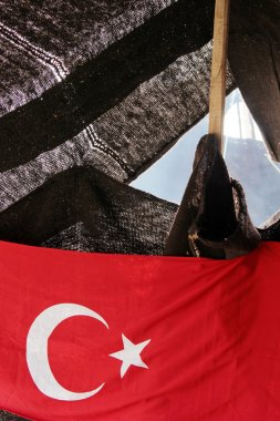 Turkish flag and the nomad's tent