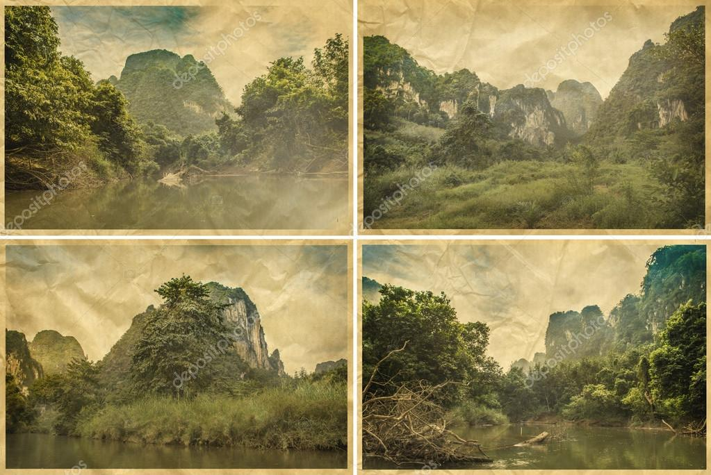 Set of images with a typical African landscape and jungle on old paper