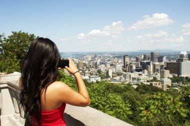 beautiful Asian girl standing at tourist area