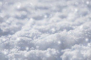 effective blue snow background, very tiny focus