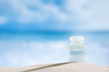 Sea glass seaglass with ocean , beach and seascape