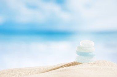 Sea glass seaglass with ocean, beach and seascape