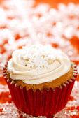 ünnepi cupcakes, hópehely, csillogó