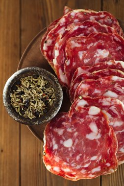 French salami with black peppercorn and fennel spices