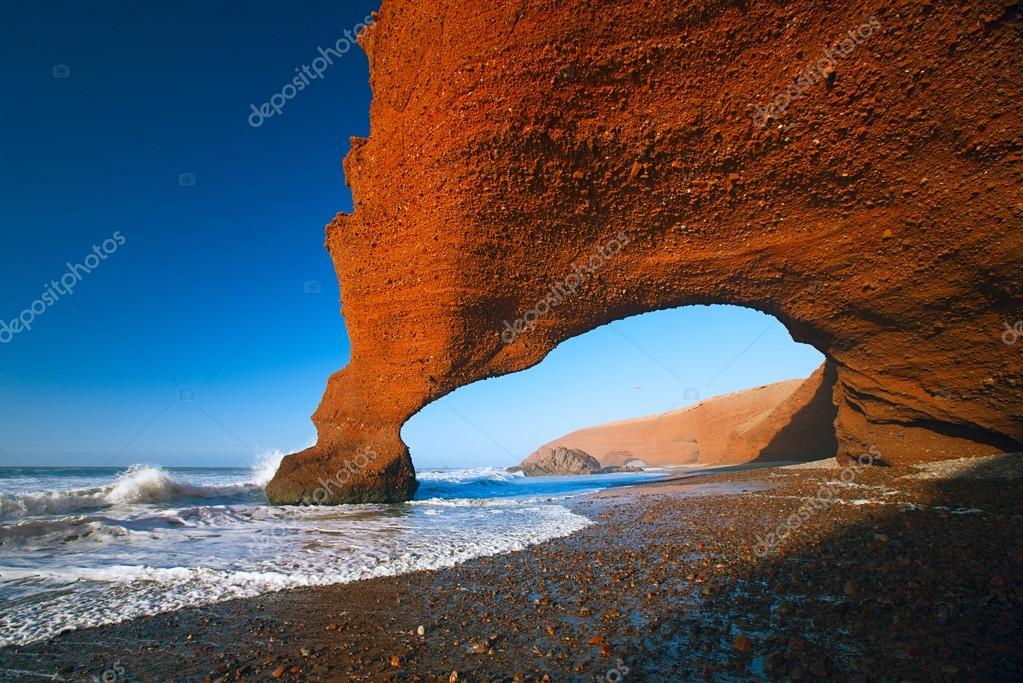 Legzira stone arches, Atlantic Ocean, Morocco