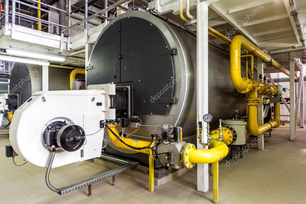 interior gas boiler room with large boilers and burners — Stock ...