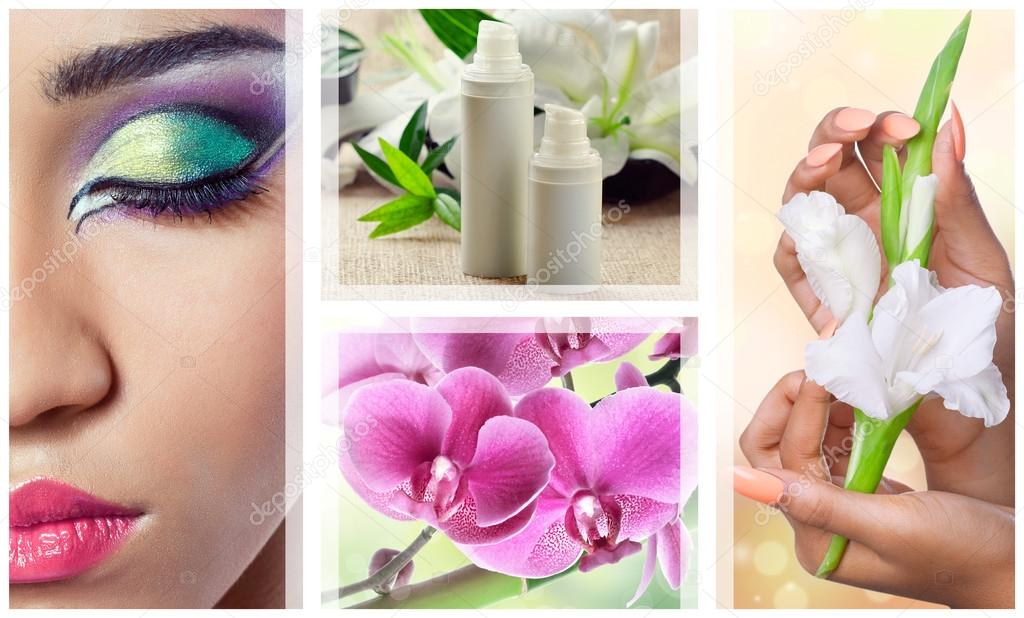 Beauty, spa and cosmetics collage with flowers