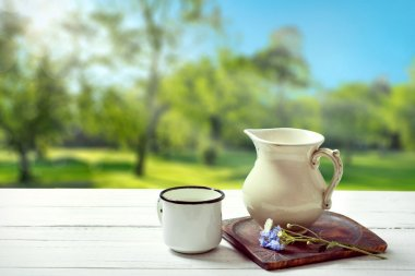 Milk jug and mug on sunny summer country background