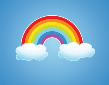 Vector rainbow and clouds in the sky