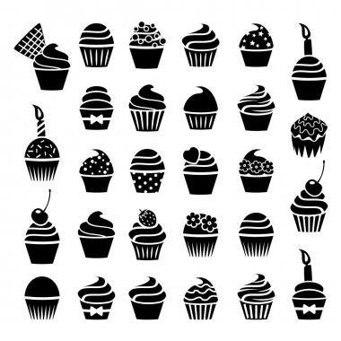 vector black and white cupcakes icons