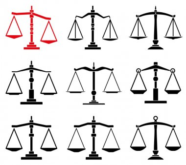 vector set of law scales icons