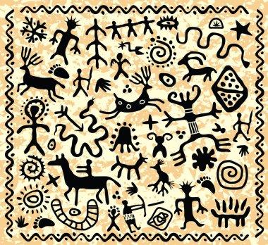 vector ancient cave petroglyphs pattern