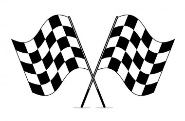 vector black and white crossed racing checkered flags clipart