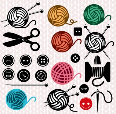 vector yarn balls and sewing equipment icons