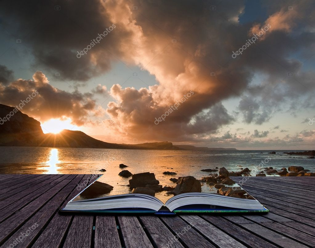 Creative concept image of seascape in pages of book
