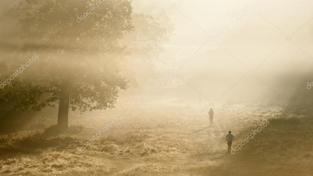 Joggers in Richmond Park, London on a crisp foggy Autumn morning