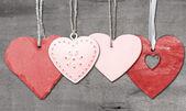 Valentin-napi szerelmes szív a rusztikus stílus háttér