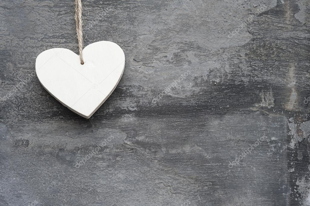 Valentines Day Love Heart On Rustic Style Background Stock Photo
