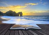 zářivé slunce nad oceánem s rock zásobníku v popředí ve stránce