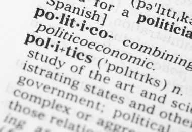 Macro image of dictionary definition of politics