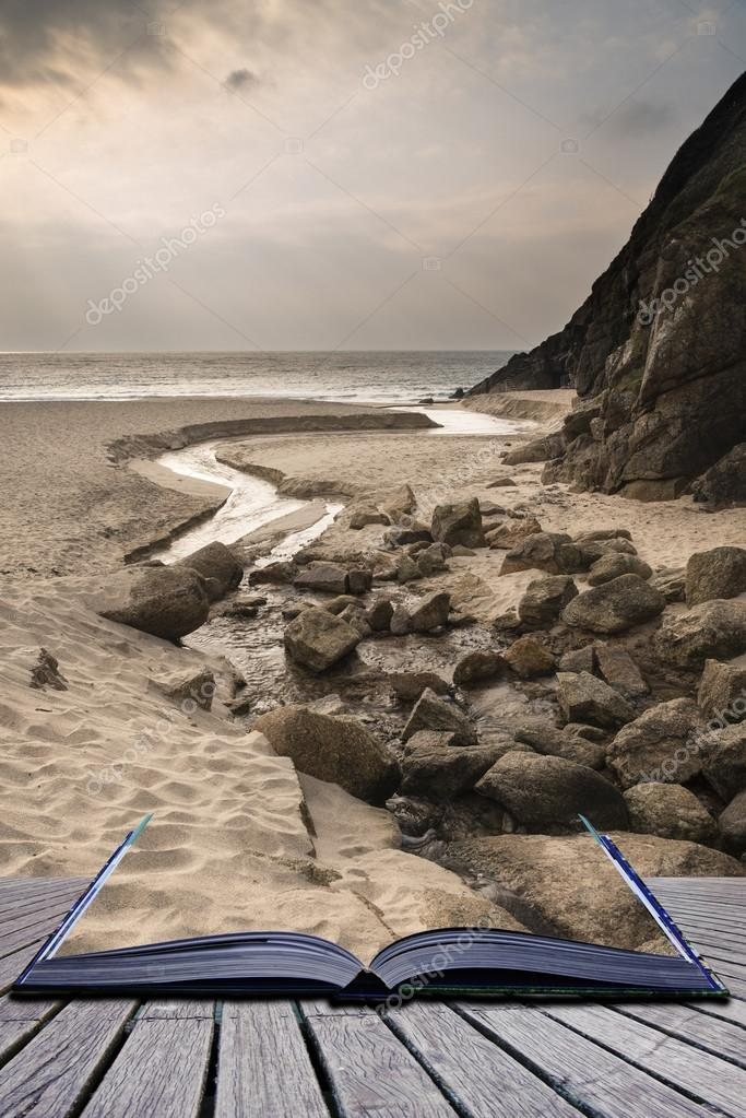 Creative concept pages of book Porthcurno yellow sand beach befo