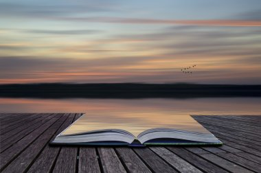 Creative concept pages of book Blur abstract sunset landscape vi