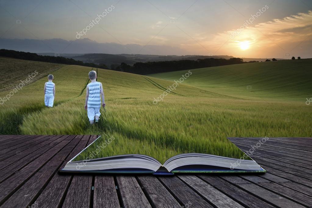 Book concept Concept landscape young boys walking through field