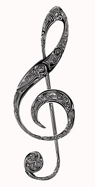 violin key tattoo