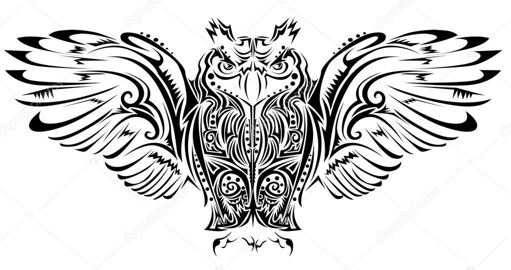 ᐈ Buho ilustraciones vector de stock, dibujos tatuaje buho ...