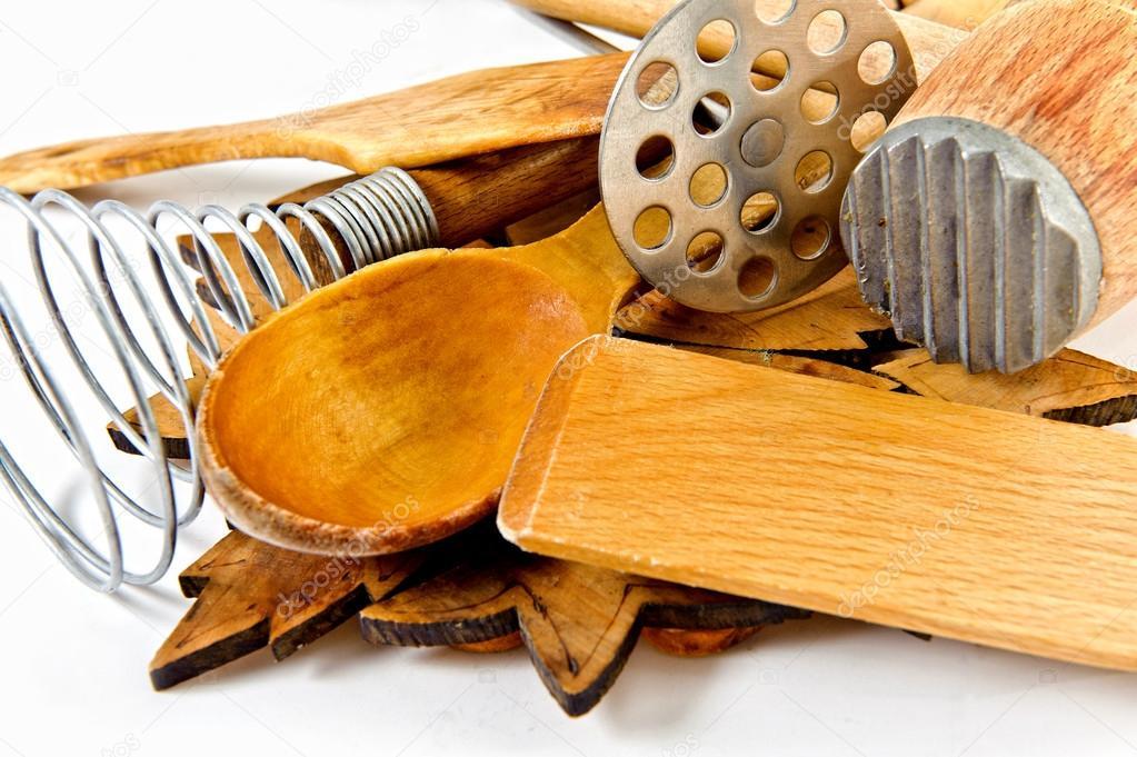 Kitchen Utensils Border border of wooden kitchen utensils on white background — stock