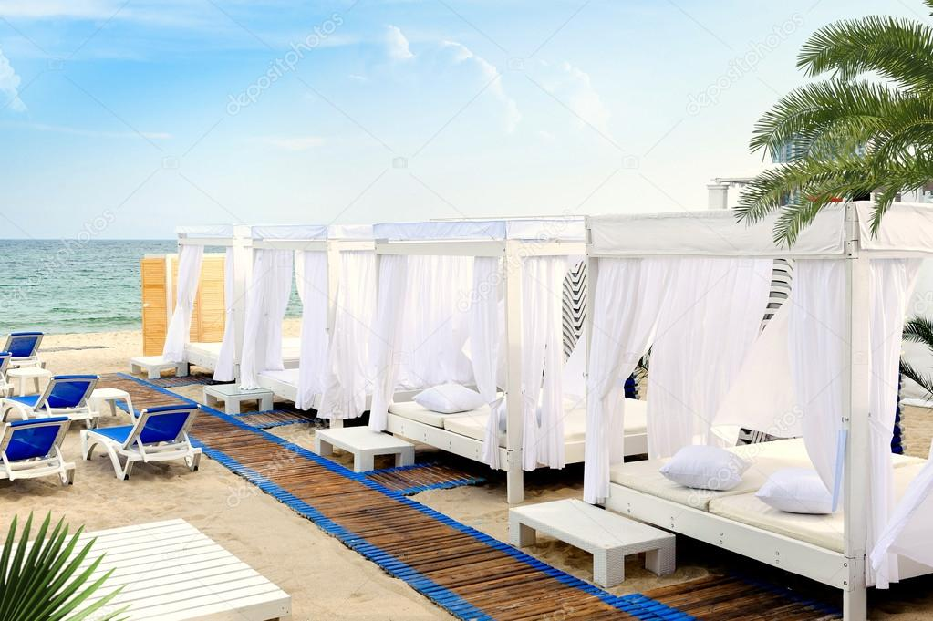 Canopy bed in beach