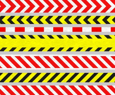 Set of Caution Tapes and Warning Signs, SEAMLESS Stripes
