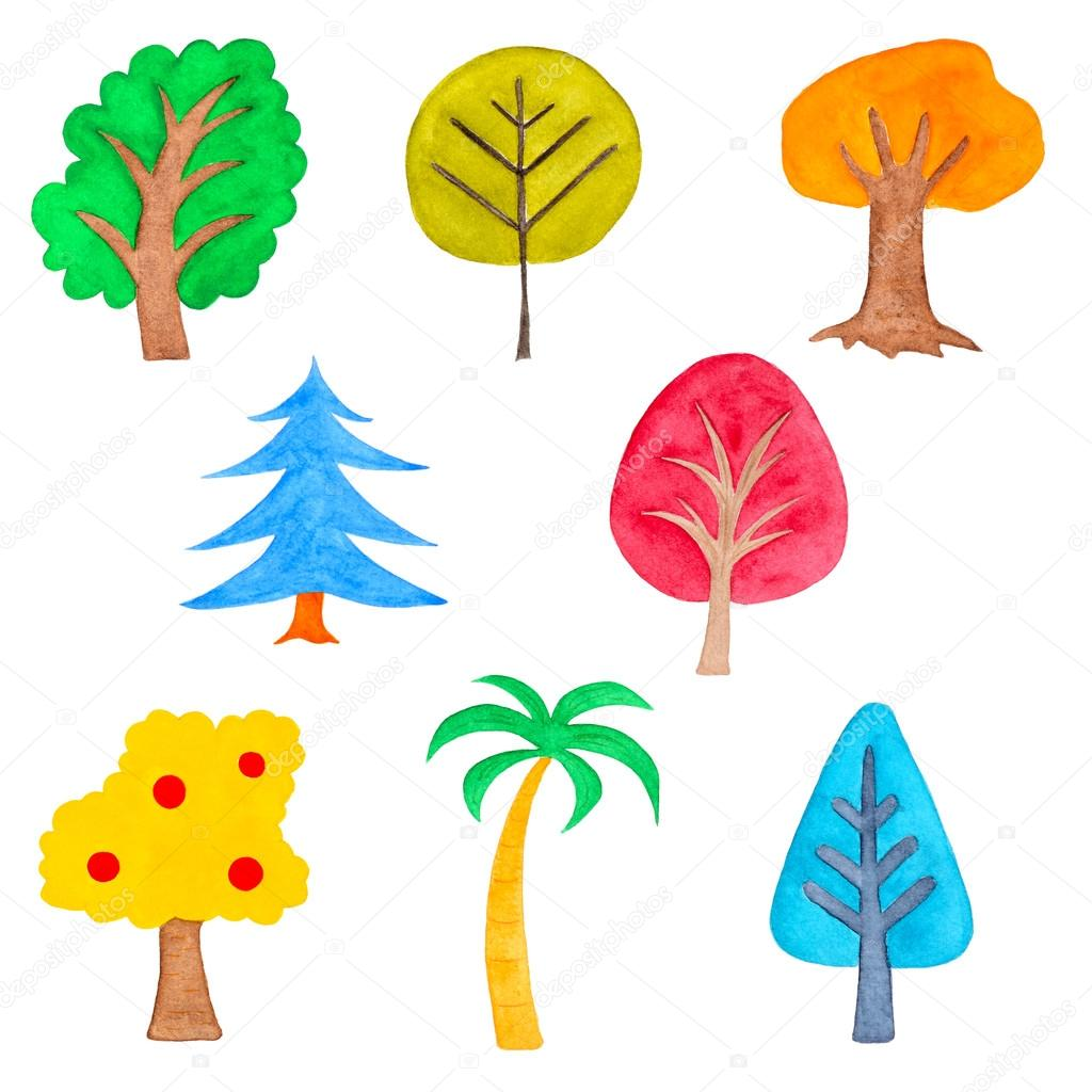 Set of Colorful Trees, Watercolor Drawn, Isolated