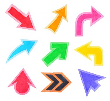 Set of Colorful Arrows or Cursors
